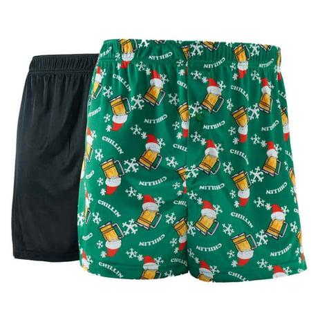 Mens 2-Pack Holiday Silky Microfiber Knit Boxers Beer Mug Boxer Shorts