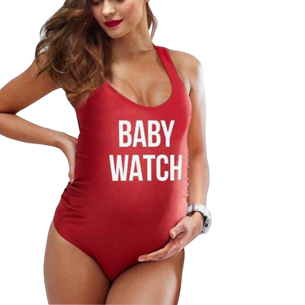 Maternity Tankinis One Piece Letters Print Backless Monokini Swimsuit by
