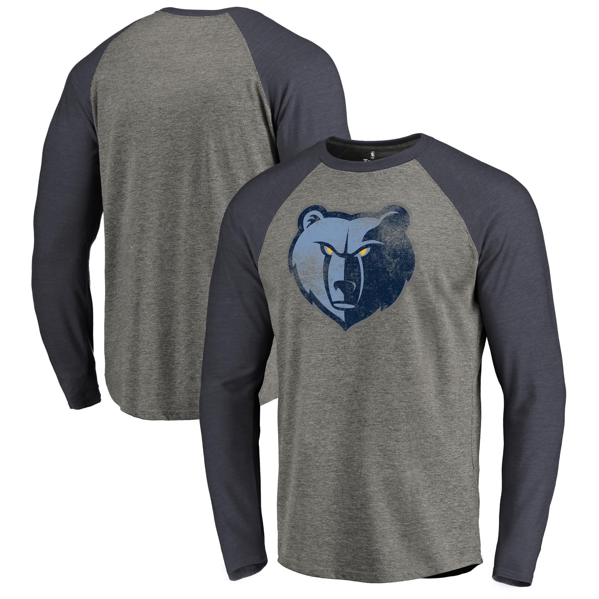 Memphis Grizzlies Fanatics Branded Distressed Logo Tri-Blend Raglan Long Sleeve T-Shirt - Ash/Navy
