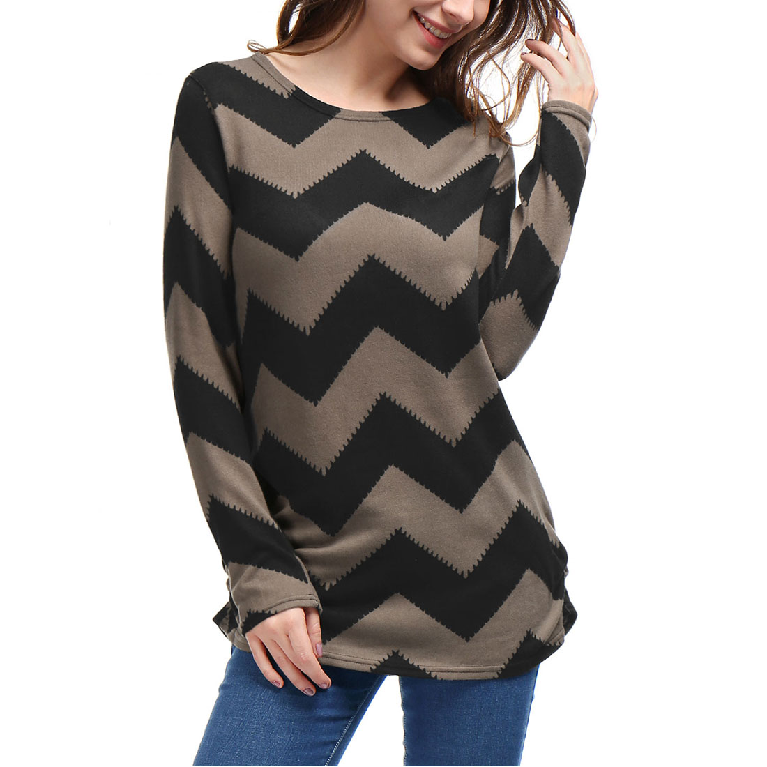 Unique Bargains Women's Zig-Zag Pattern Knitted Loose Tun...