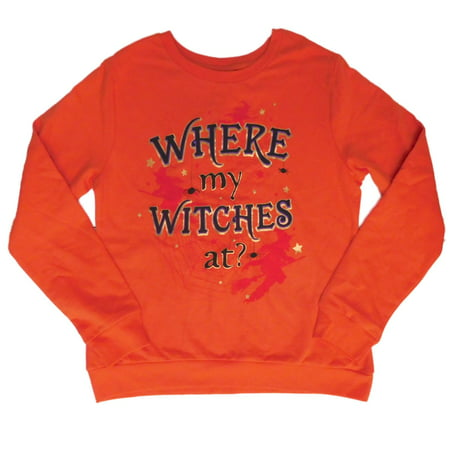 Womens Orange Halloween Sweatshirt Where My Witches At Sweat Shirt](Halloween Themed Workouts)