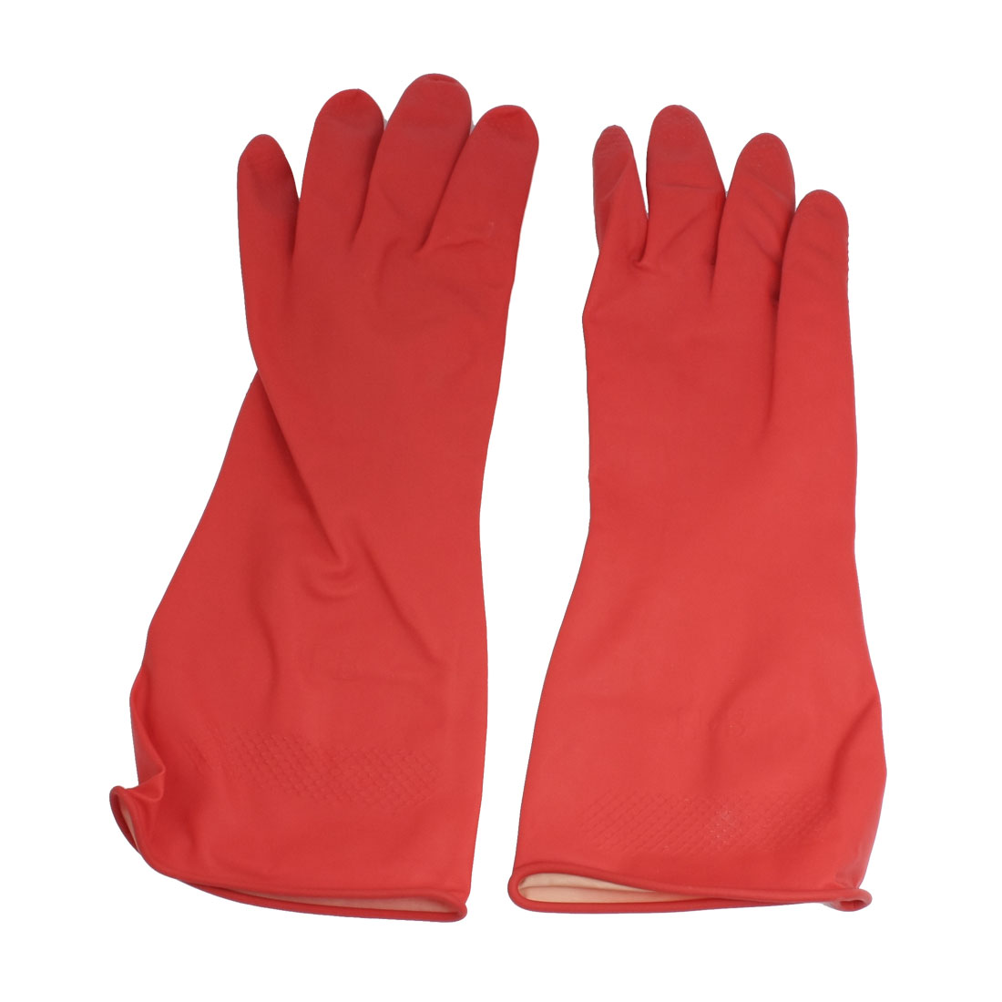 Unique Bargains Kitchen Dishwashing Wash Clean Latex Rubber Long Work Gloves Red Pair