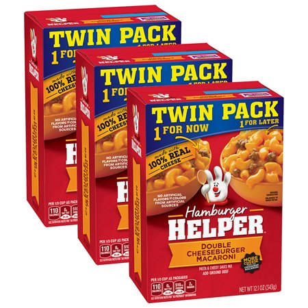 (3 Pack) Betty Crocker Hamburger Helper, Double Cheeseburger Macaroni Hamburger Helper, 12.1 Oz Box (Twin Pack) (Hamburger Usb)