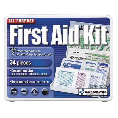 FIRST AID ONLY FAO-112GR First Aid Kit,Plastic,34 Pieces G1826119