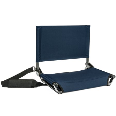 Cascade Mountain Tech Lightweight Folding Portable Stadium Seats with Shoulder Strap - Navy