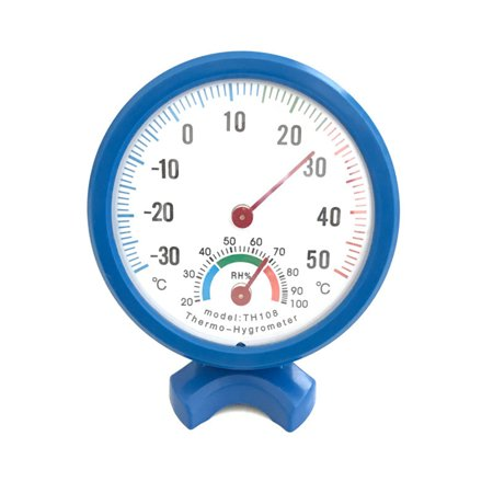 Thermometer Hygrometer Round Clock-shaped Measuring Indoor Outdoor Wall Temperature Humidity Thermometer blue -30-50 degrees ()