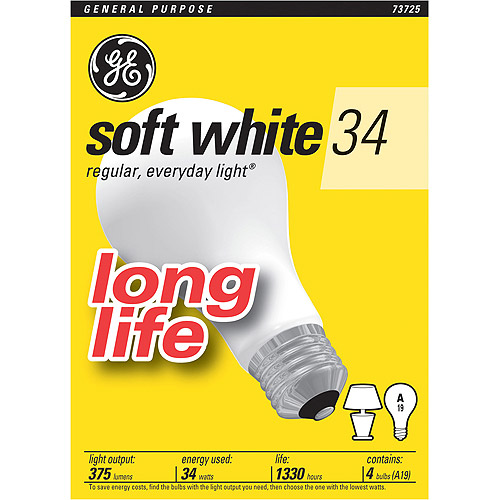GE Inc Esaver Long Life 34wt Soft White - 48 bulbs