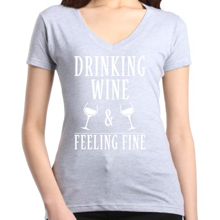 - Shop4Ever Women's Drinking Wine and Feeling Fine Funny Wino Slim Fit V-Neck T-Shirt