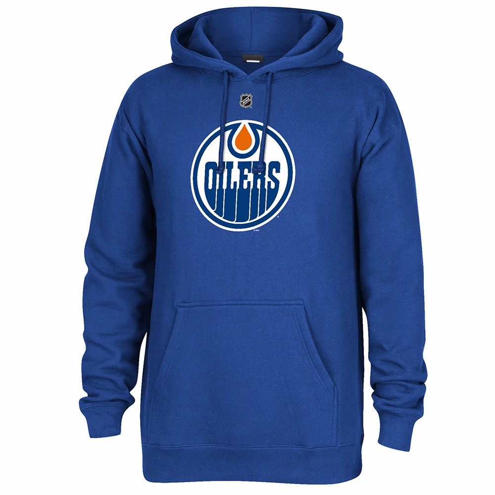 Connor McDavid Edmonton Oilers NHL Reebok Blue Team Jersey Crest Player Name & Number Fleece Hoodie For Men