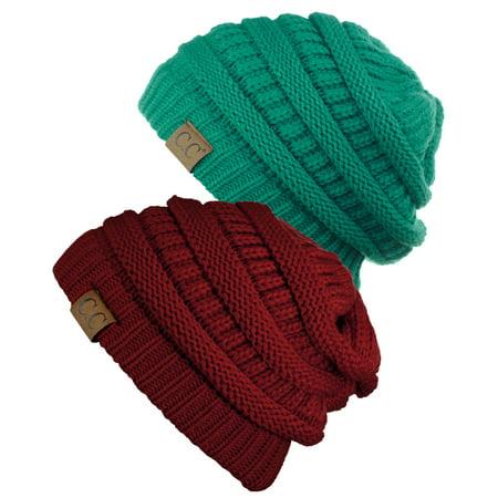 ccec2ac8ae6eec C.C - C.C Trendy Warm Chunky Soft Stretch Cable Knit Beanie Skully, 2 Pack  Sea Green/Burgundy - Walmart.com