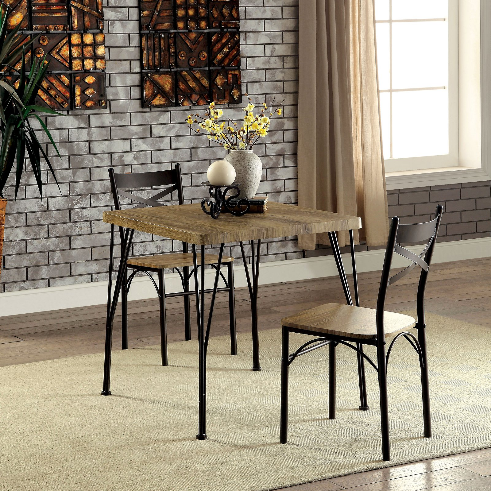 Furniture of America Amonica Industrial Style 3 Piece Casual Dining Set
