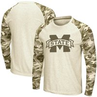 Mississippi State Bulldogs Colosseum OHT Military Appreciation Desert Camo Raglan Long Sleeve T-Shirt - Oatmeal