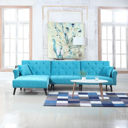 Modern Style Velvet Sleeper Futon Sofa, Living Room L Shape ...