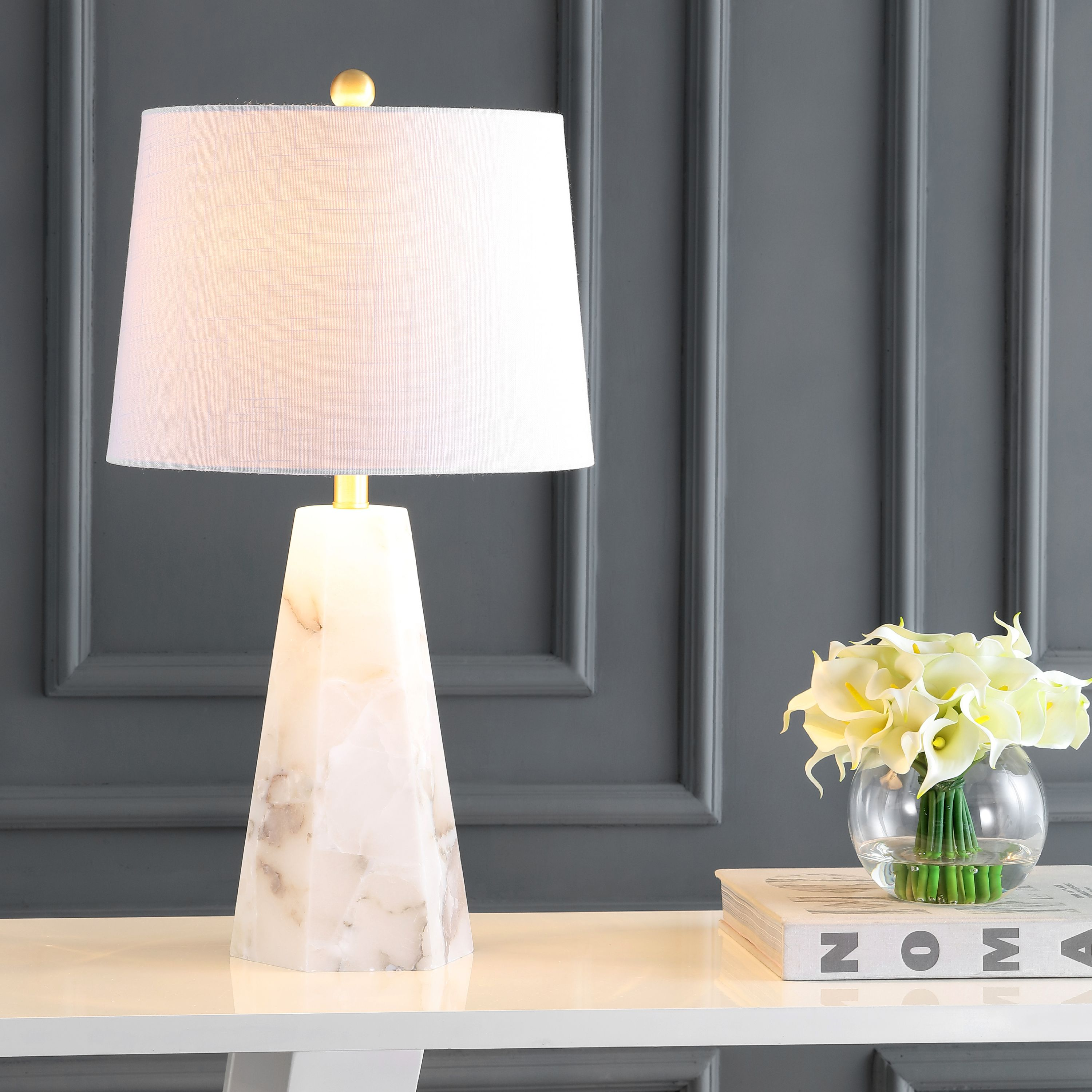 """Xio 25.5"""" Alabaster LED Table Lamp, White by JONATHAN Y"""