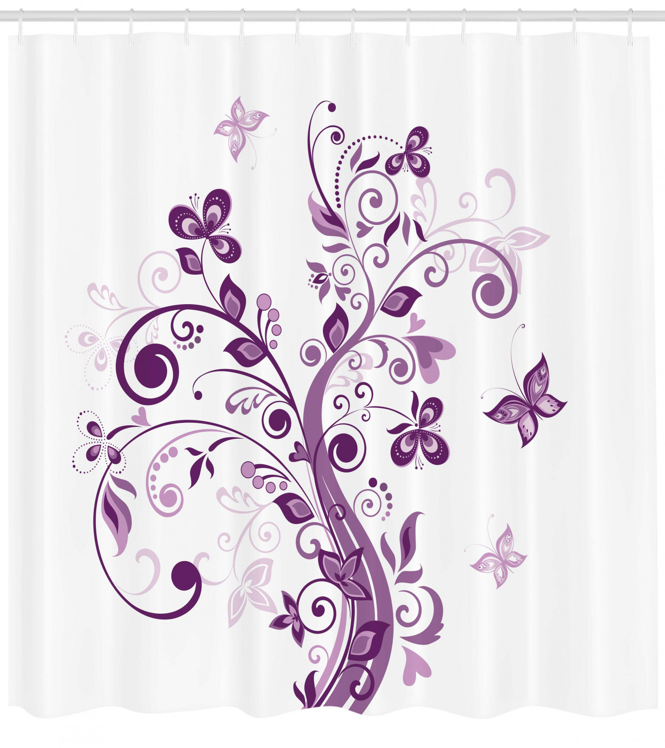 Mauve Shower Curtain Tree With Swirled Branches And Flowers Leaf Butterfly Bridal Inspirations Theme Fabric Bathroom Set With Hooks Purple White
