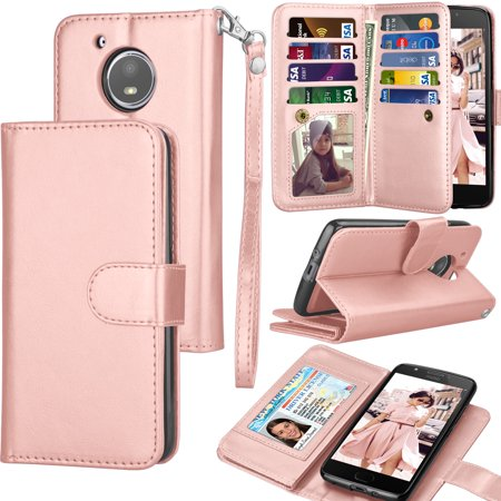 buy online f19b6 60f1d Tekcoo Wallet Case Moto E5 Plus / E5 Play / E5 GO / E5 Cruise / E5 Supra /  E4 / E4 Plus, ID Credit Card Slots Holder Folio Flip Cover [Detachable ...
