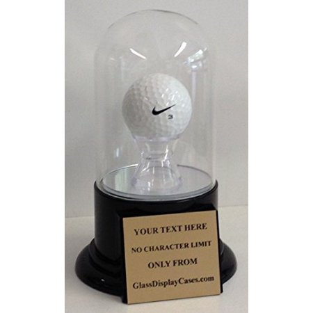 Golf Ball Personalized Hole in One - Eagle - Best Round - Game Glass Display Case Round Dome with Platform Base & Free Engraved Nameplate