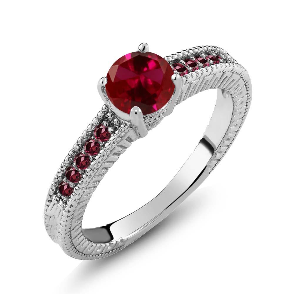 1.25 Ct Round Red Created Ruby Rhodolite Garnet 14K White...