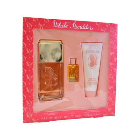 White Shoulders par Evyan pour les femmes - 3 pc Gift Set spray 4,5 oz edc, 3,3 oz lotion pour le corps, 7.5ml Mini