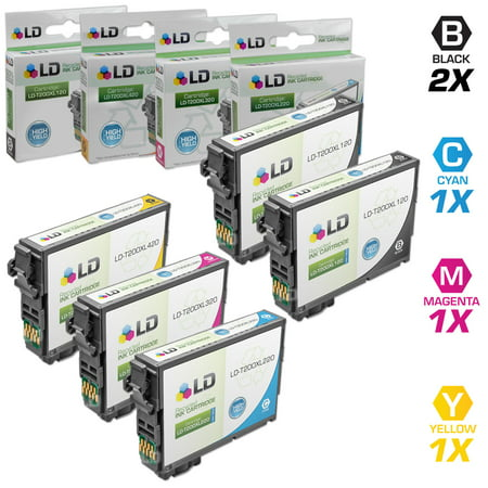 Epson Remanufactured T200XL set of 5 High Yield Ink Cartridges: Includes 2 Black T200XL120, 1 Cyan T200XL220, 1 Magenta T200XL320, and 1 Yellow T200XL420
