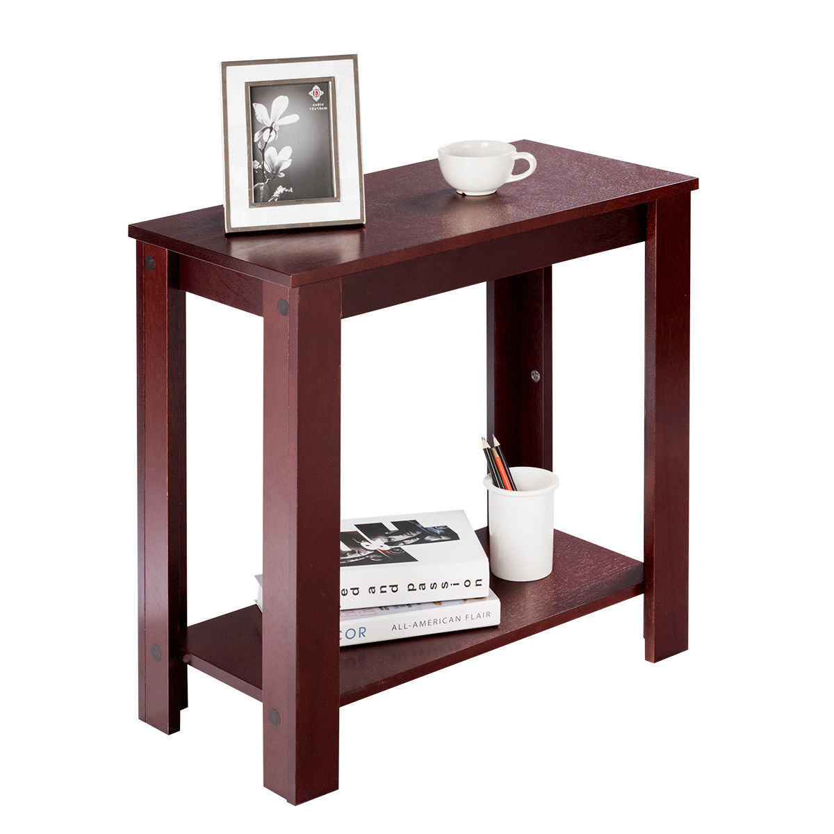 Costway Chair Side Table Coffee Sofa Wooden End Shelf ...