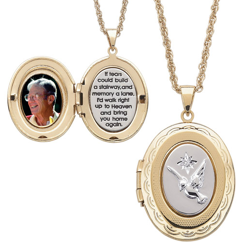Two-Tone Memorial 14kt Gold-Plated Locket Pendant, 20""