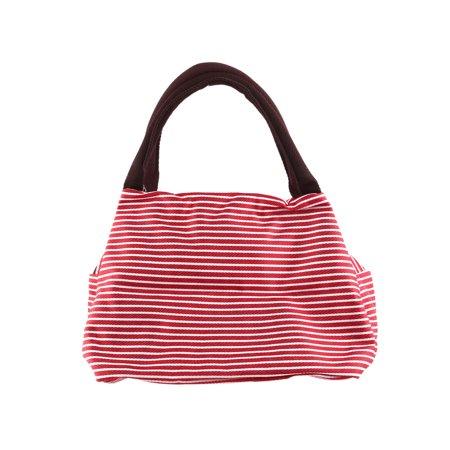 - Women Cotton Blend Stripe Pattern Makeup Pouch Holder Handbag Zipper Bag red
