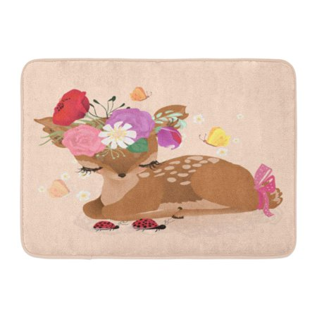 GODPOK Cute Woodland Forest Animal Deer Fawn with Flowers Floral Bouquet Wreath Tied Bow and Ladybug Crossing Rug Doormat Bath Mat 23.6x15.7 inch