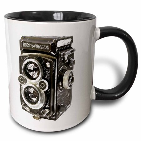 3dRose Picture of a Vintage Twin Lens reflex TLR camera - Two Tone Black Mug,