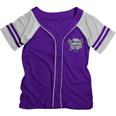 MLB Colorado Rockies Girls Short Sleeve Button Down Mesh