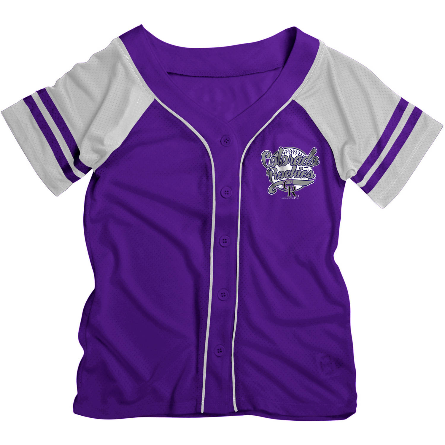 MLB Colorado Rockies Girls Short Sleeve Button Down Mesh Jersey