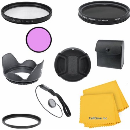 Professional Lens Filter Accessory Kit for CANON PowerShot SX10 IS, SX1 IS Cameras - Includes: Lens Conversion Ring Adapter + Vivitar Filter Kit (UV, CPL, FLD) + Tulip Lens Hood + Lens Cap w/ Cap Keep