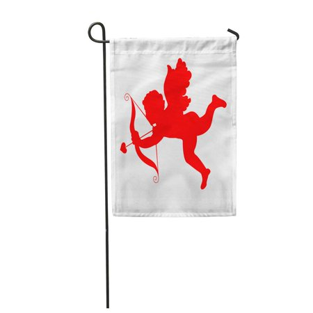 KDAGR Red Matchmaker Cupid Bow and Arrow Affair Angel Anniversary Garden Flag Decorative Flag House Banner 12x18 inch