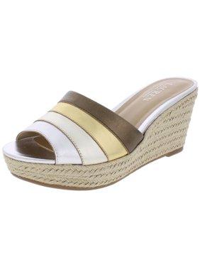 0b33cf32eb3d Product Image Lauren Ralph Lauren Womens Karlia Leather Wedge Sandals  Silver 10 Medium (B