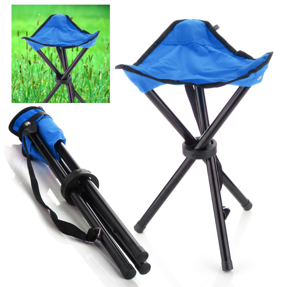 Camping Folding Stool Blue Portable 3 Legs Chair Tripod