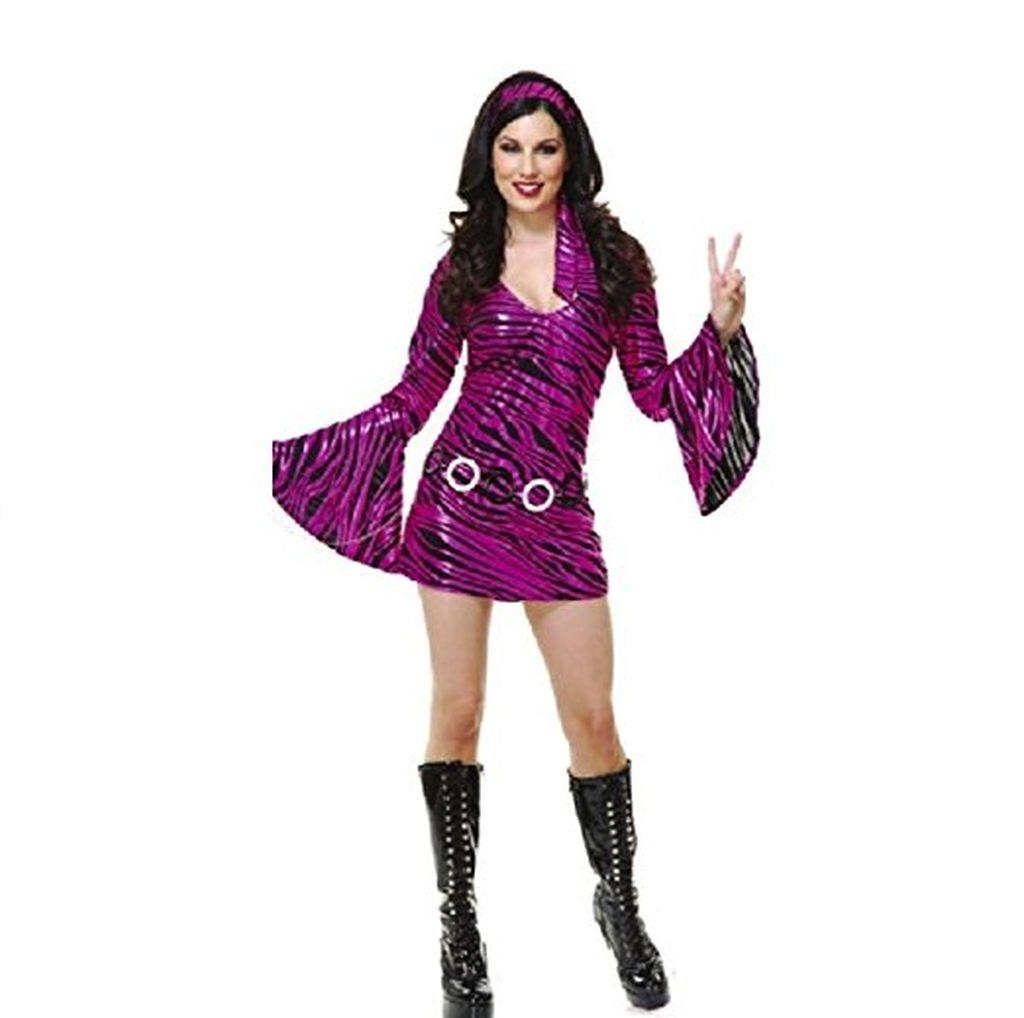 Womens Sexy Pink Disco Queen Short Skirt Dress 70's Dance Costume