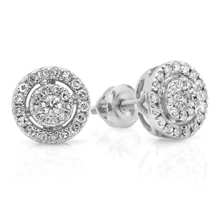 0.40 Carat (ctw) 10K White Gold Real Round Cut White Diamond Ladies Flower Cluster Stud Earrings ()