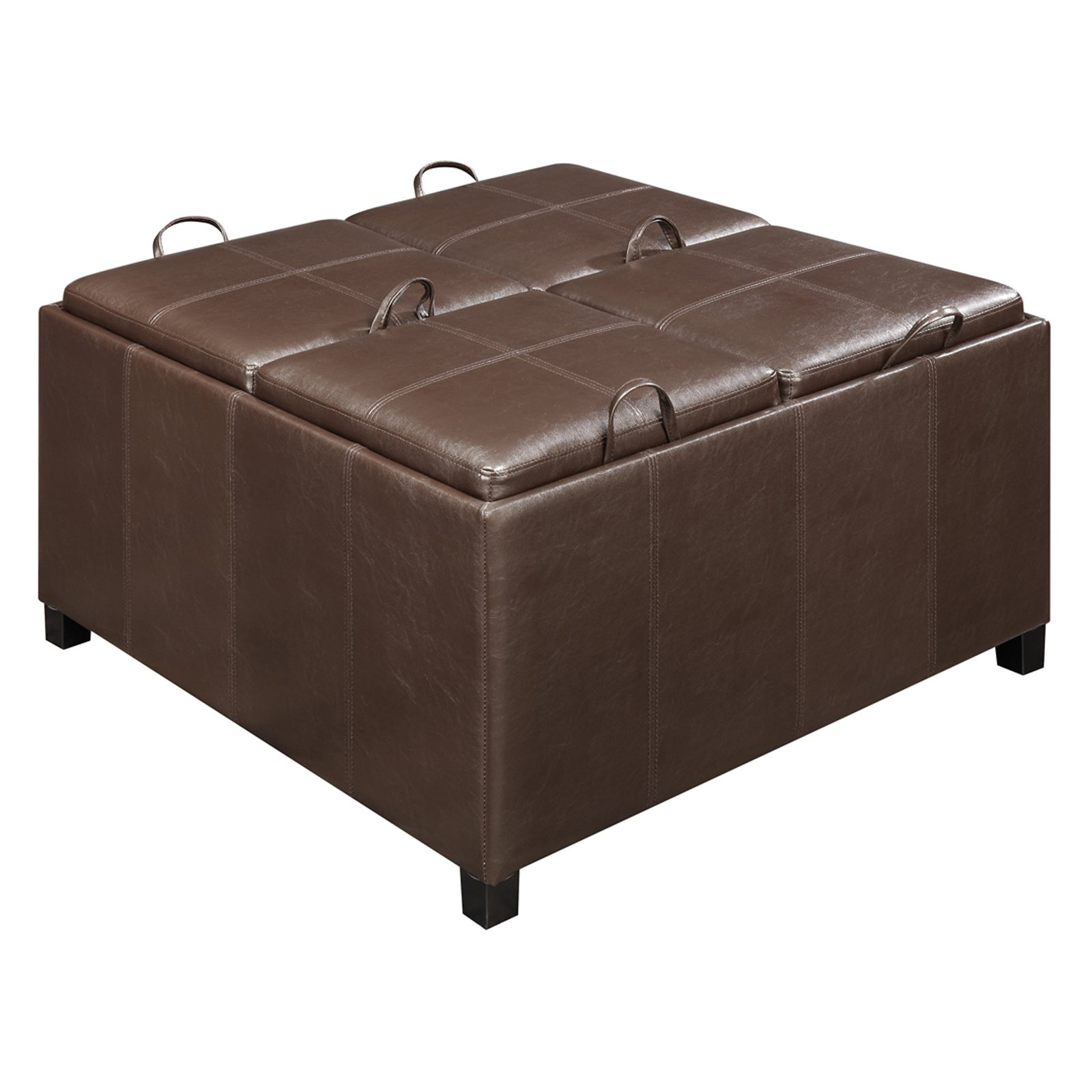 Convenience Concepts Designs4Comfort Times Square Ottoman w  4 Tray Tops by Convenience Concepts