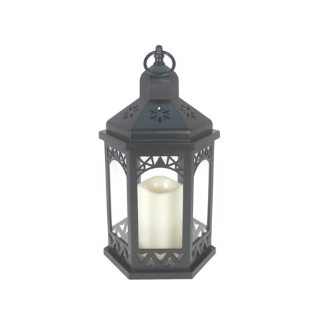 Mainstays Black LED Hexagon Lantern - Large Black Lanterns