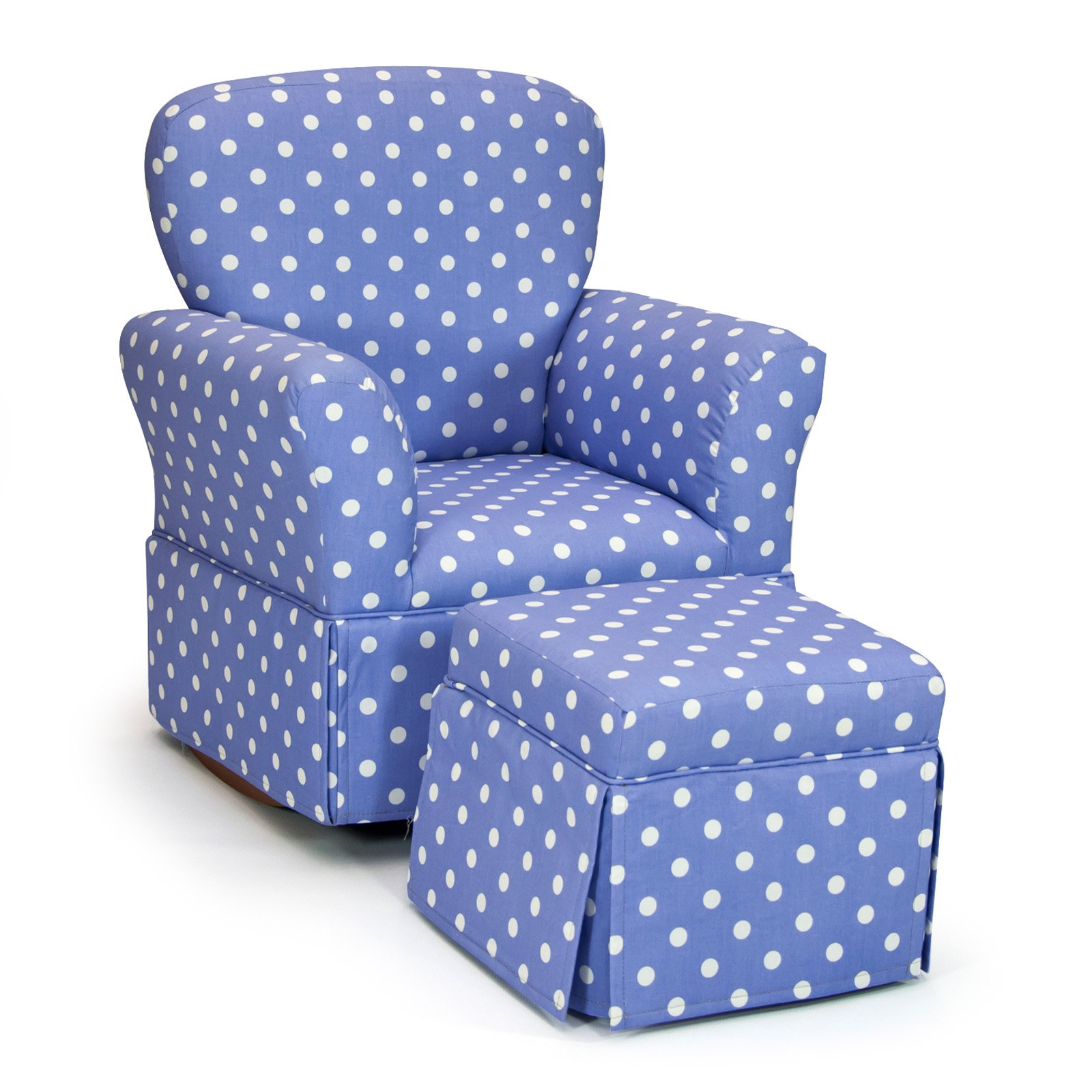 Kidz World Skirted Rocker and Skirted Ottoman Set In Polka Dots Lilac with White