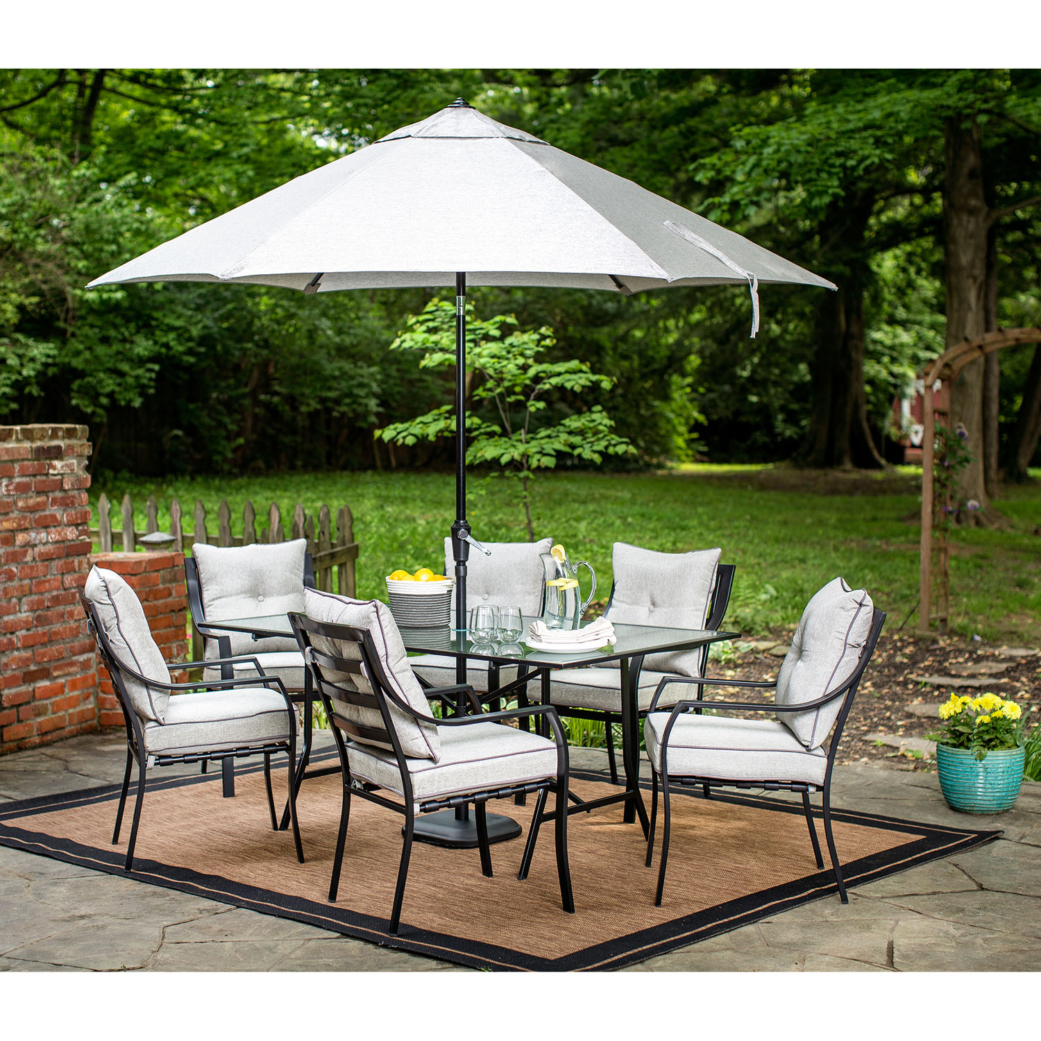 Hanover Lavallette 7-Piece Outdoor Dining Set with Table Umbrella and Stand