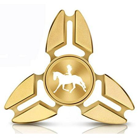 Fidget Spinner Tri-Spinner Gold Aluminum Metal Cowgirl Riding Horse