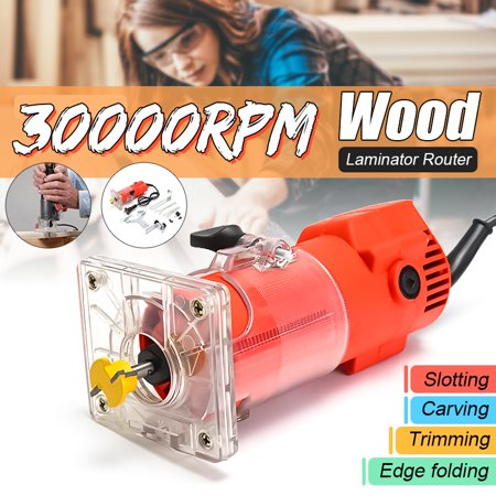 220V 300W 30000RPM Electric Hand Trimmer Trim Router Wood Clean Cuts Power Woodworking Set + Wrench