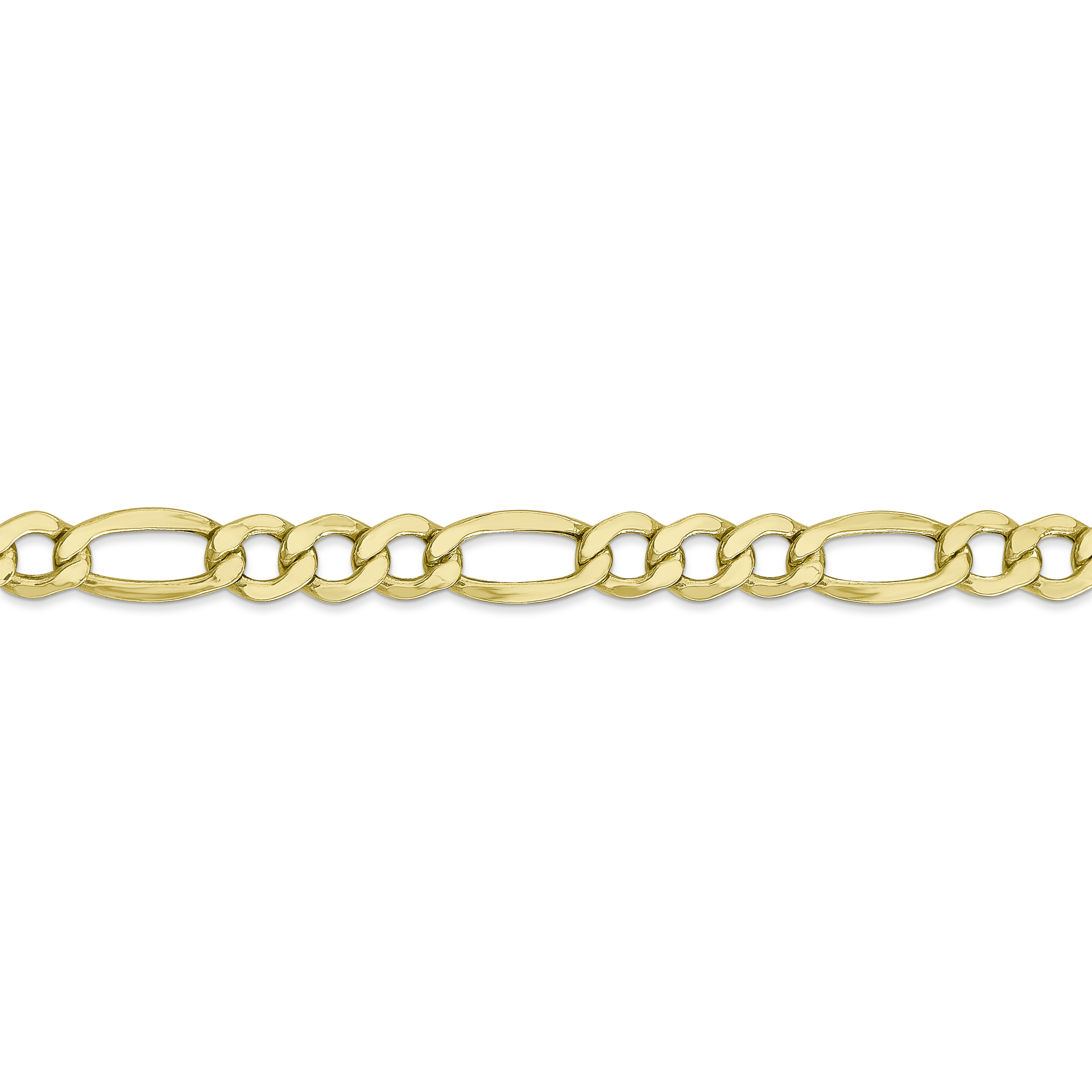 10K Yellow Gold 7.3mm Semi-Solid Figaro Chain 24 IN - image 3 of 5