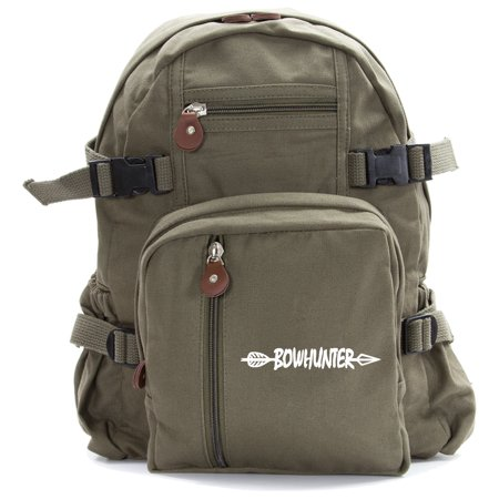Bow Hunter with Arrow Army Sport Heavyweight Canvas Backpack