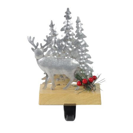 "8.5"" Galvanized Metal Deer and Trees Christmas Stocking Holder"