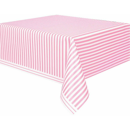 Table Striped (Plastic Light Pink Striped Table Cover, 108