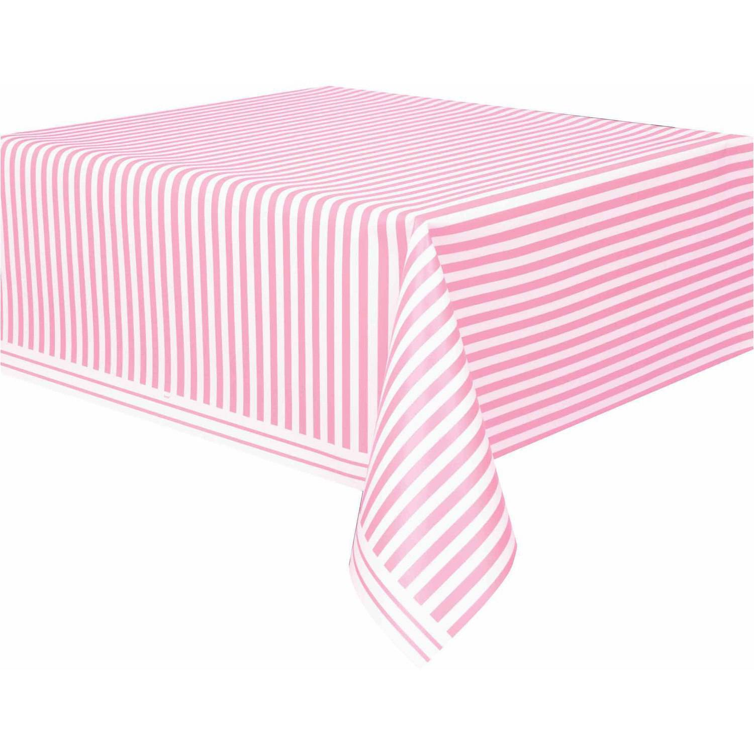 "Plastic Light Pink Striped Table Cover, 108"" x 54"""