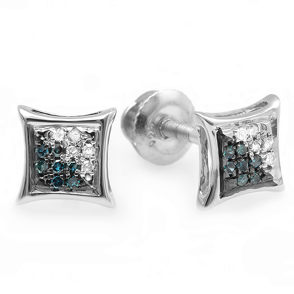 0.07 Carat (ctw) Round Blue & White Diamond Micro Pave Setting Kite Shape Stud Earrings