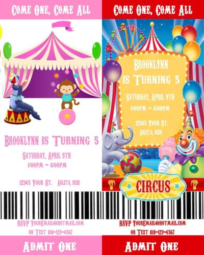 photograph relating to Printable Movie Ticket titled Circus/Carnival Printable Video clip Ticket Style and design Birthday Bash Invites
